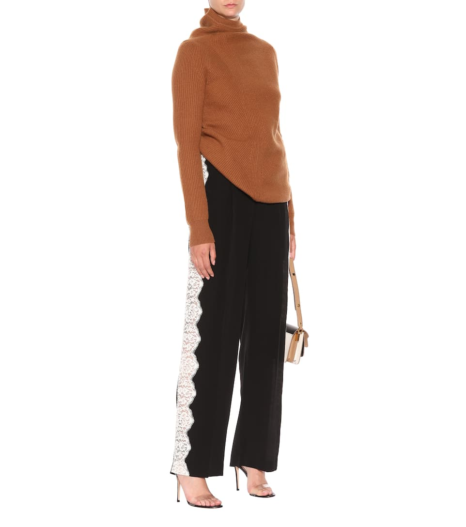 de adornos de negro pantalones Stella encaje seda McCartney con vqwxEpf