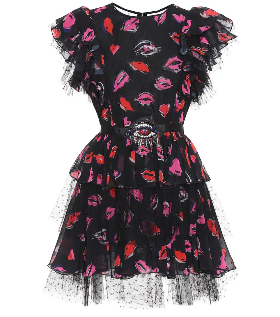 MSGM Bedrucktes Kleid mit Verzierung und Kristallen