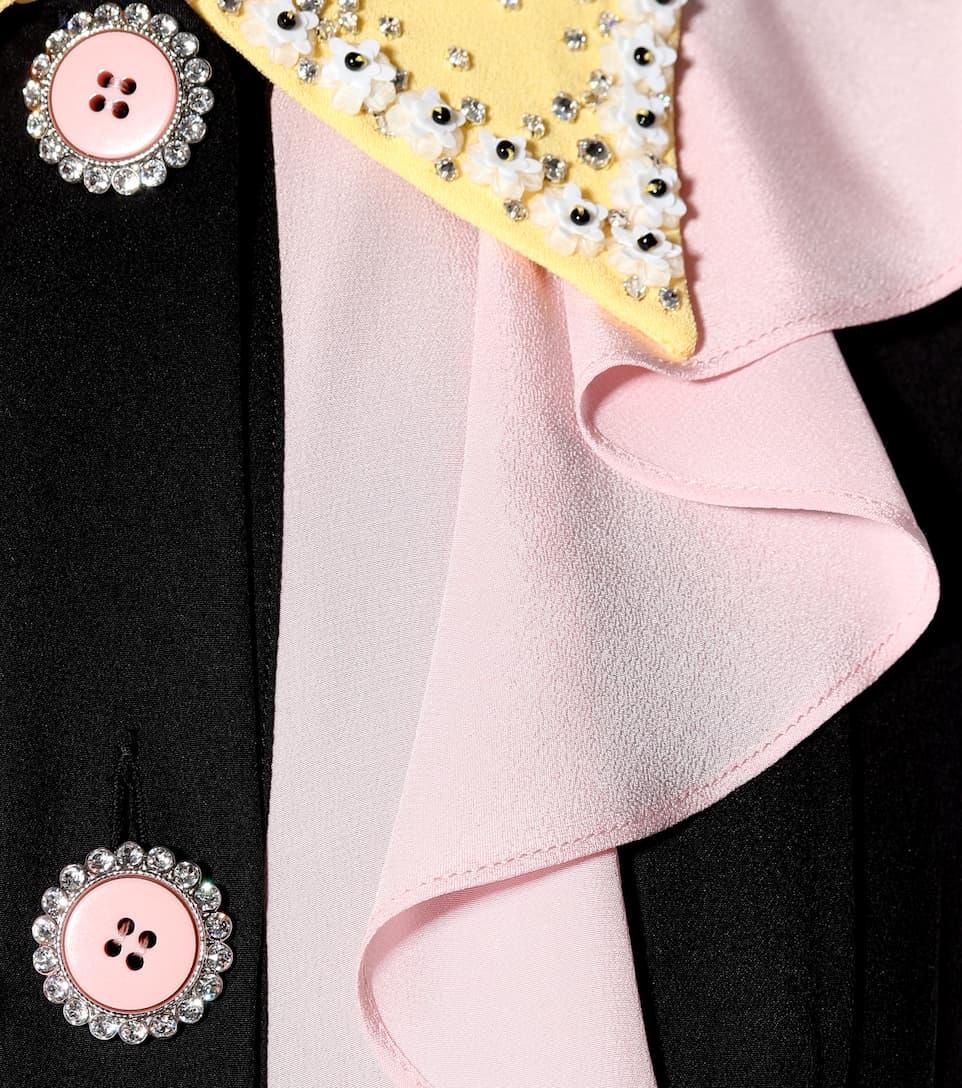 Miu Miu Verziertes Kleid aus Cady und Crêpe de Chine