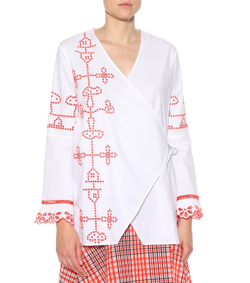 Ganni Peonie cotton top Bright White 2018 Online Cheapest Price Sale Online Shop Offer Free Shipping Outlet Outlet Store 5CqL7iTOW