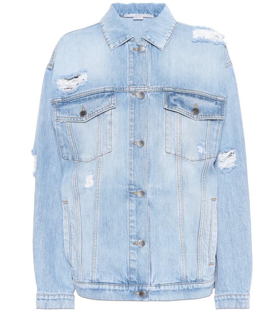 Oversized Distressed Denim Jacket, Blue