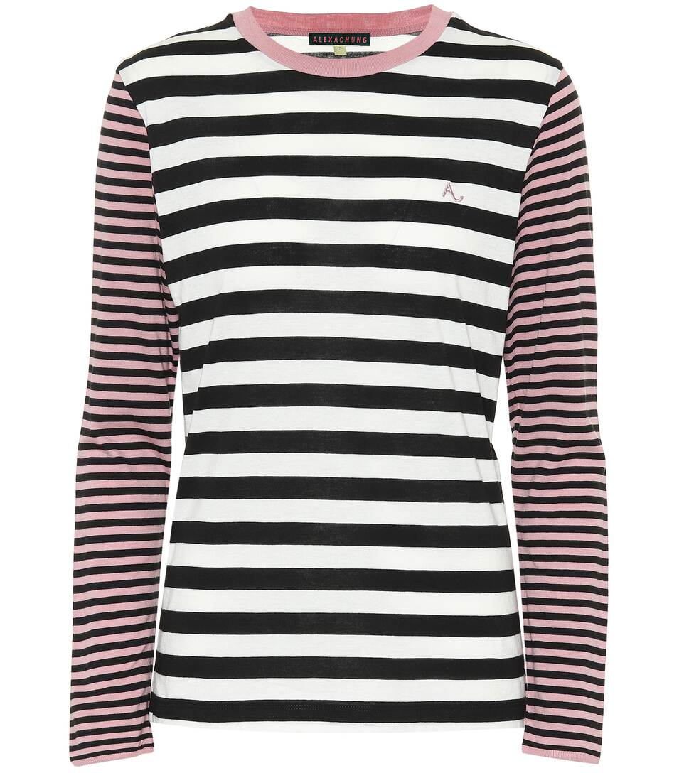 Alexa Chung STRIPED COTTON-BLEND TOP