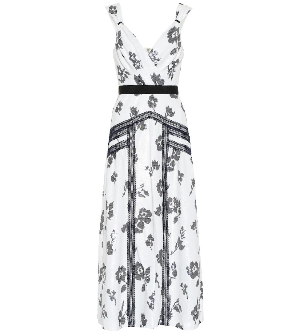 c18aa1d82b7f Floral Sequined Midi Dress - Self-Portrait   Mytheresa