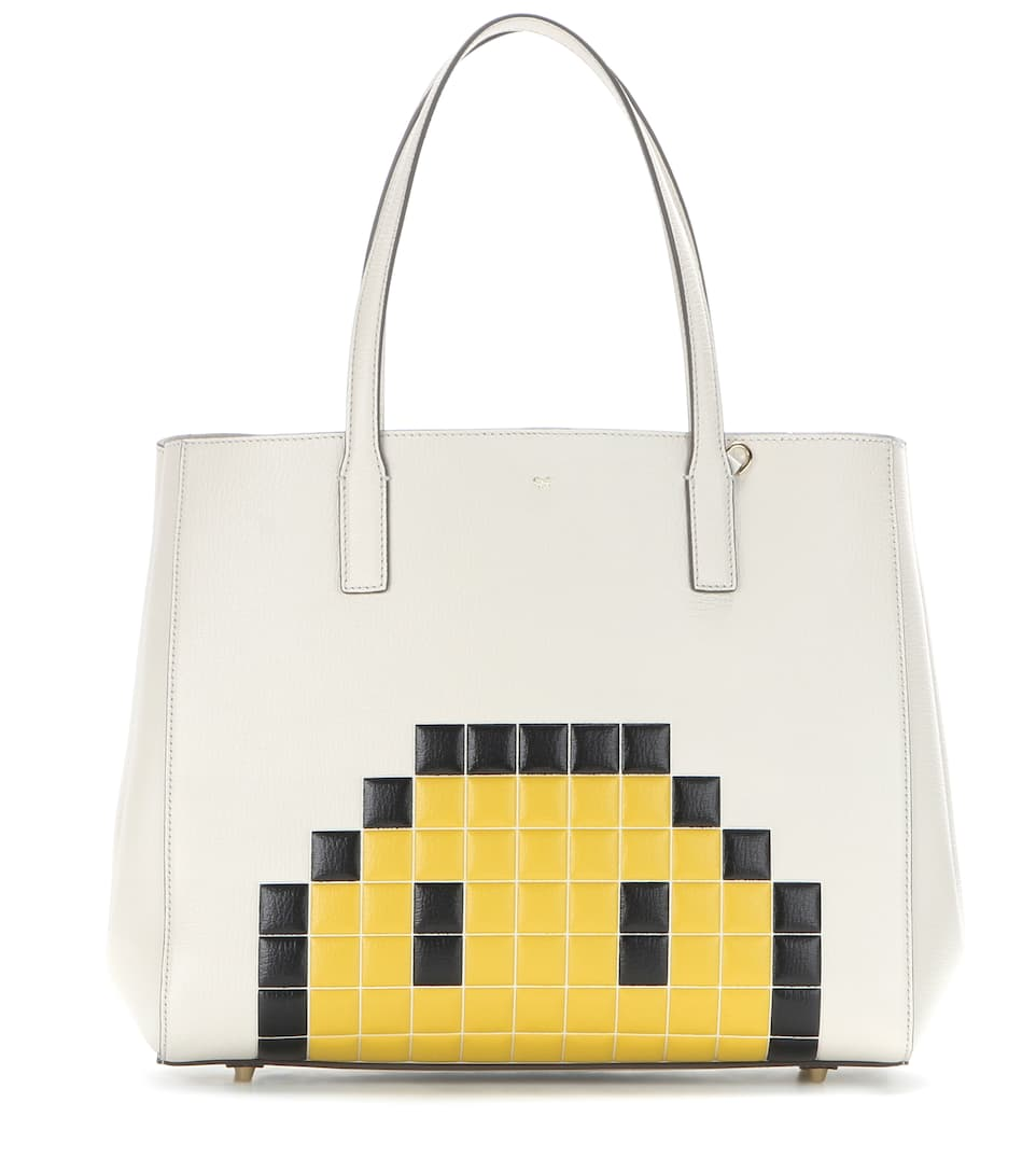Anya Hindmarch Pixel Smiley Maxi Featherweight Ebury leather tote