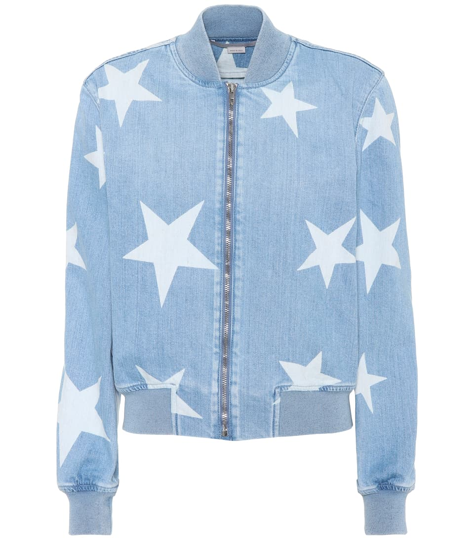 Stella McCartney Bedruckte Bomberjacke aus Denim