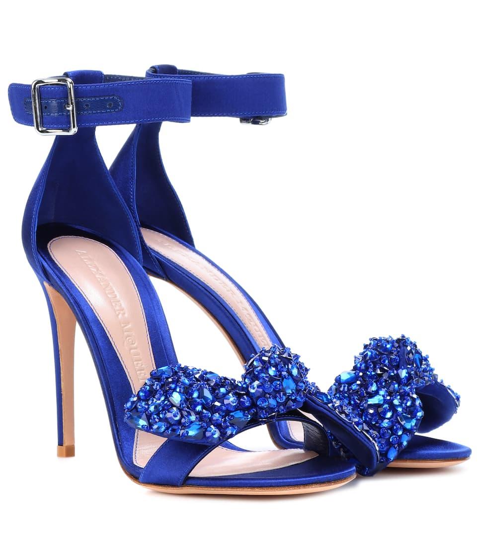 Mode-Stil Günstig Online Freies Verschiffen Kauf Alexander McQueen Verzierte Sandalen aus Satin Alpail
