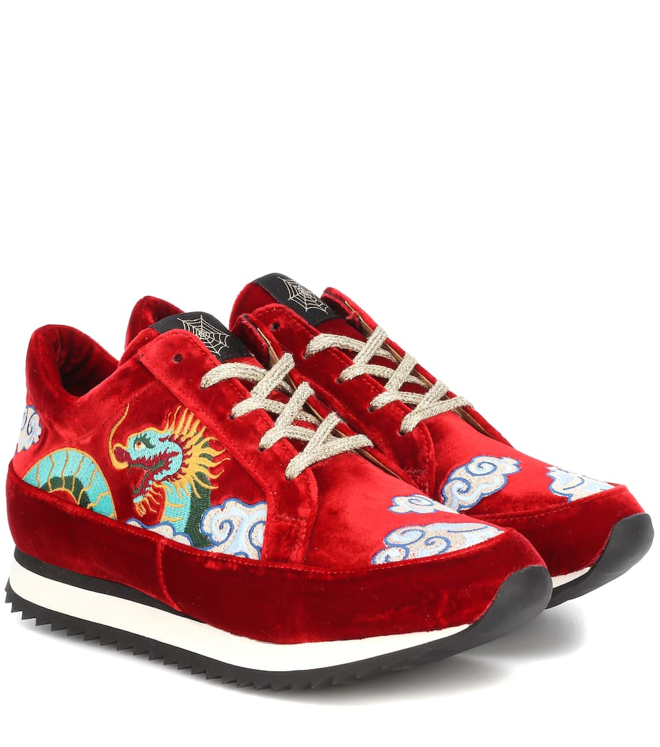 Charlotte Olympia Work It Dragon velvet sneakers zbX1A