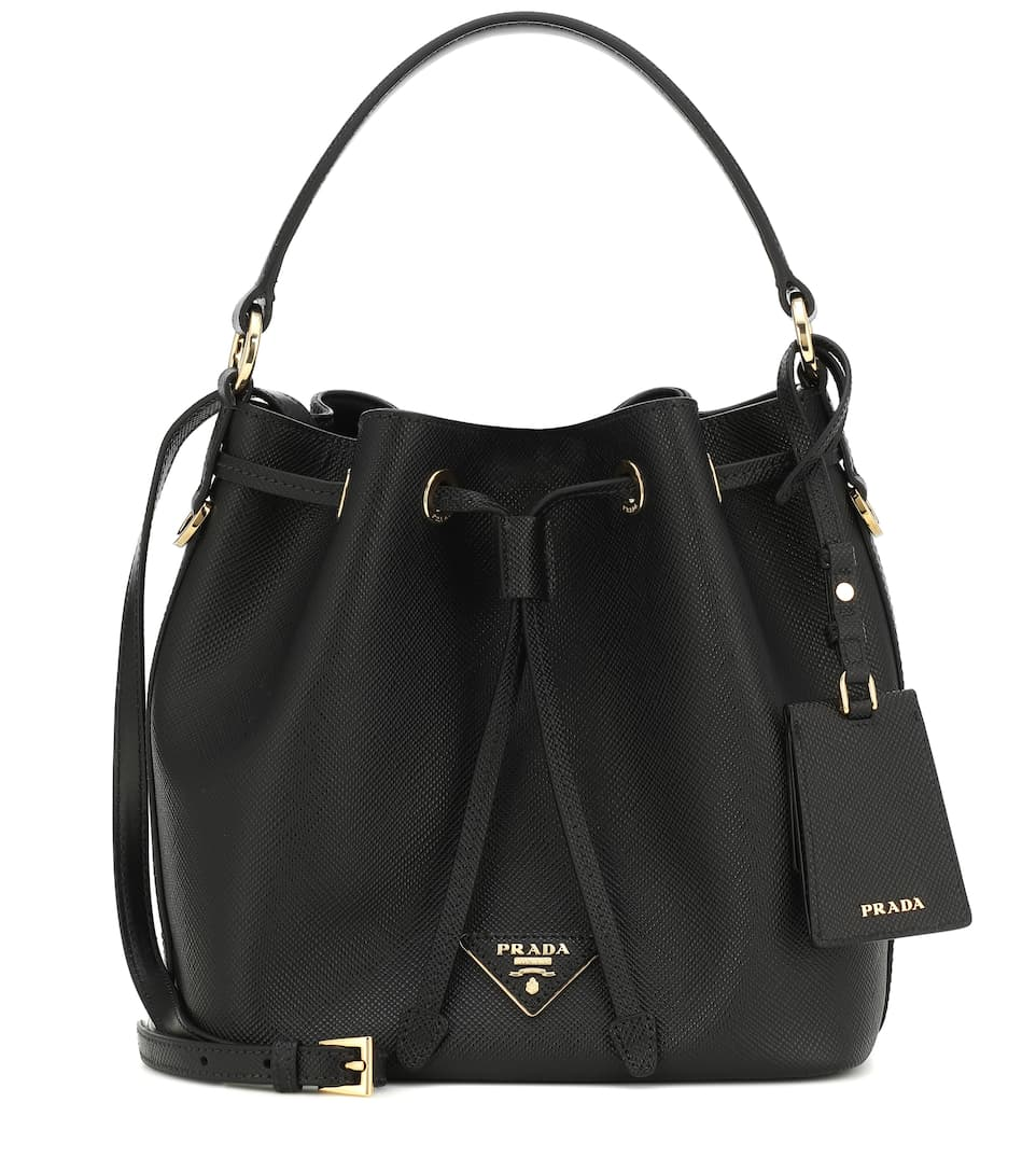 Drawstring Mini Leather Bucket Bag Prada Mytheresa