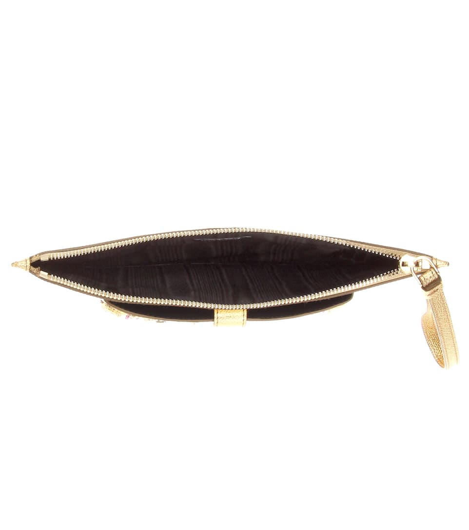 Exclusivité mytheresa.com : Pochette en cuir à ornements
