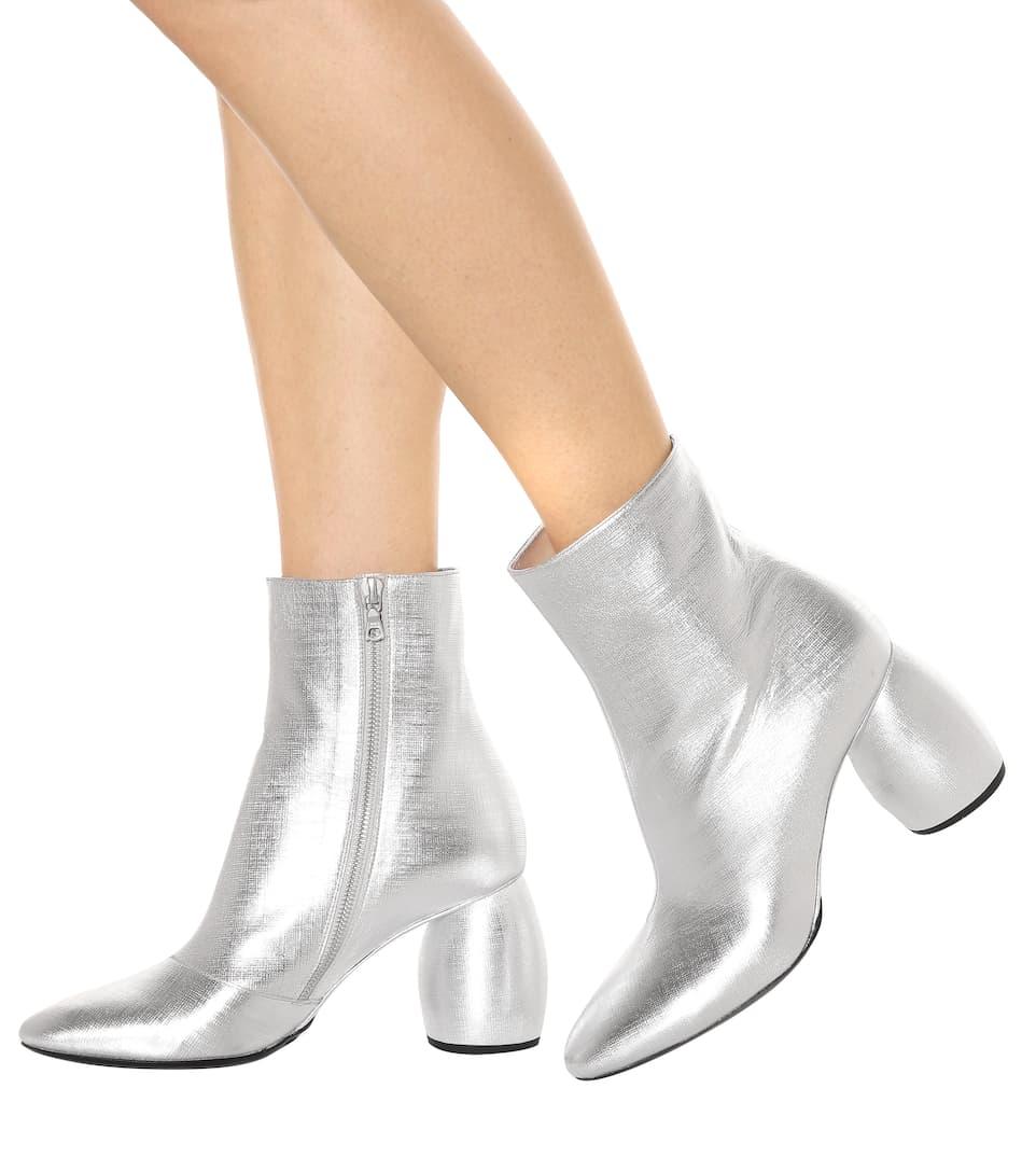 DRIES VAN NOTEN Metallic Leather Round-Heel Bootie, Silver
