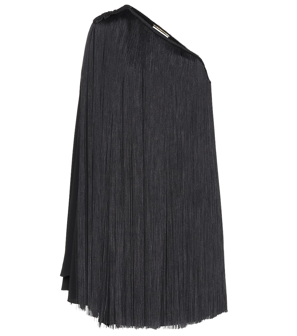 Saint Laurent Asymmetrisches Minikleid mit Fransen