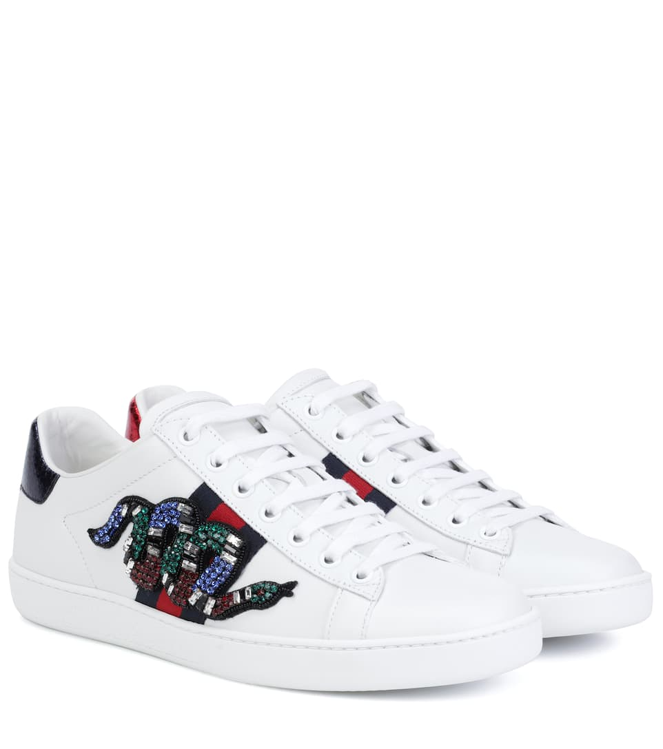 a3cc870c770 Gucci New Ace Crystal-Embroidered Snake Leather Low-Top Sneakers In White