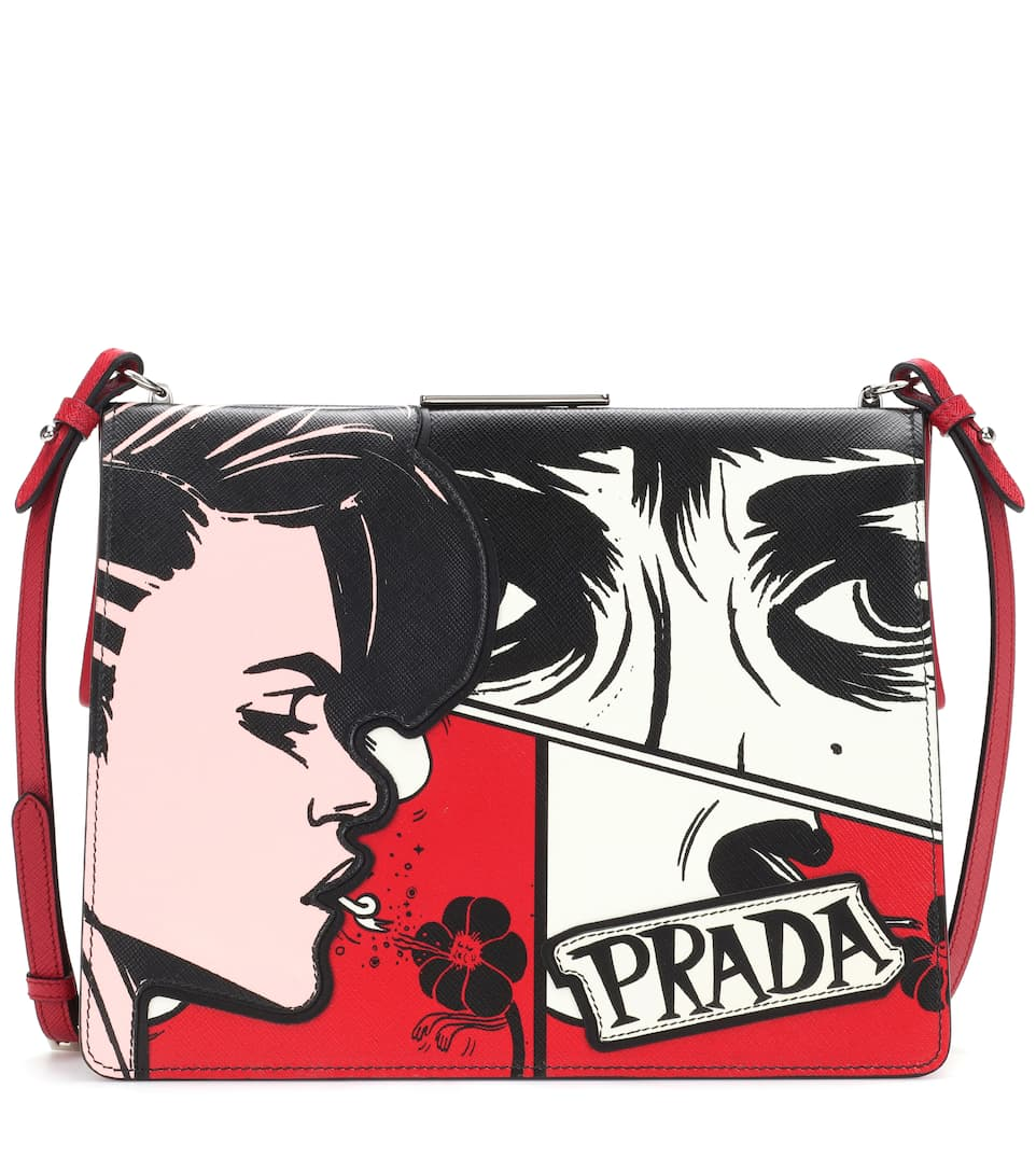 Prada Light Frame leather shoulder bag Fuoco/Nero Factory Outlet Perfect Cheap Online Discounts cyeaXD