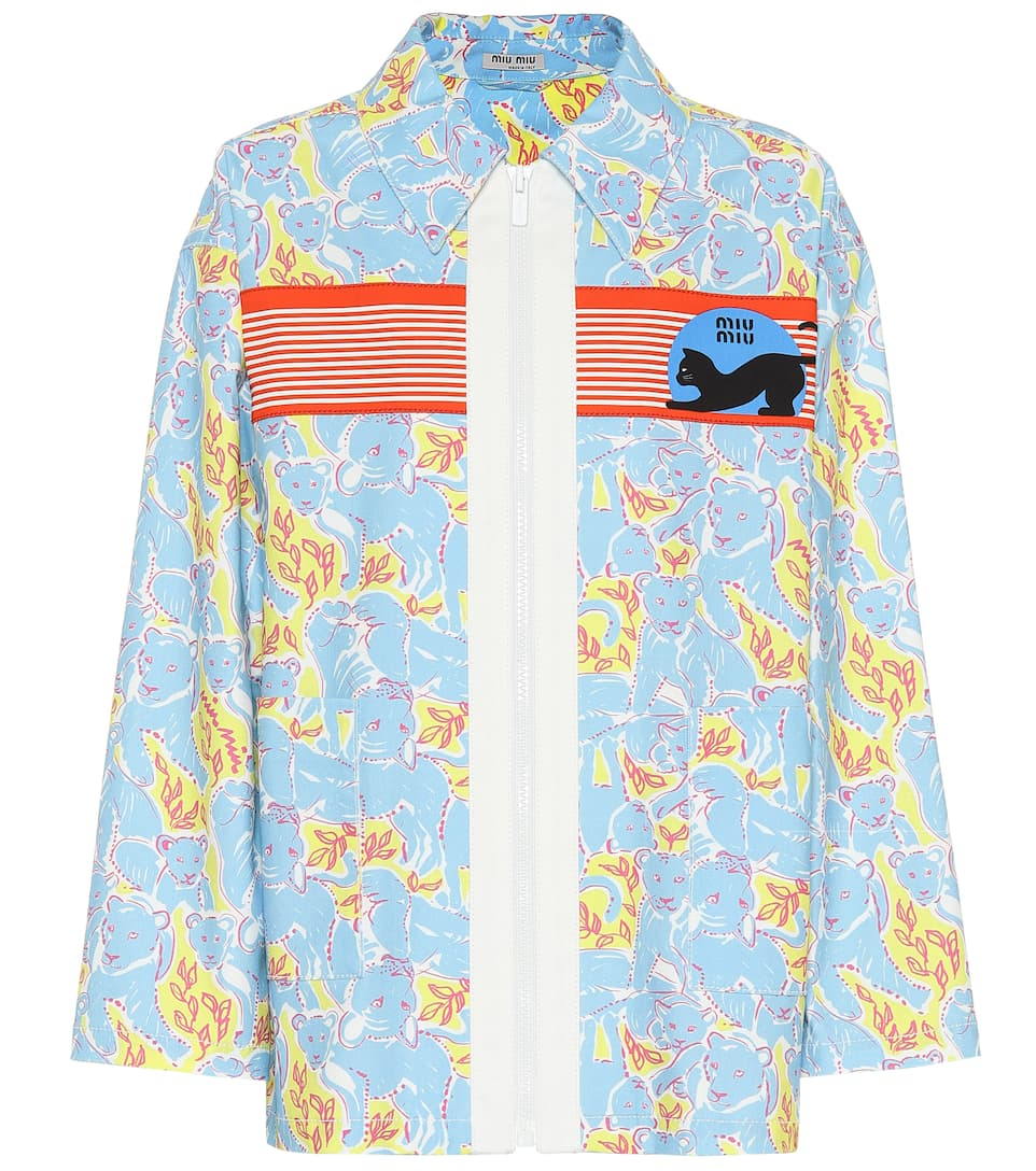 Miu Miu - Printed stretch denim jacket