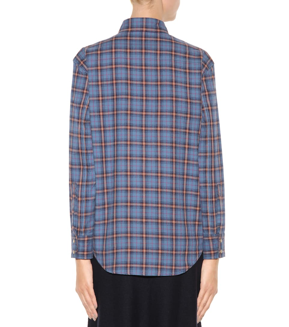 Saint laurent 70 39 s collar western shirt in blue and beige for Saint laurent check shirt