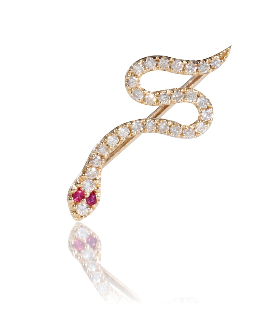Boucle D'oreille Unique En Or, Rubis Et Diamants Snake - Sydney Evan