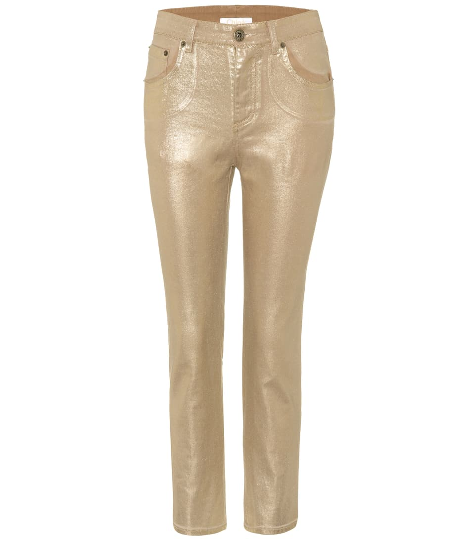 Exclusive to mytheresa.com - metallic cropped jeans Chloé ajho0