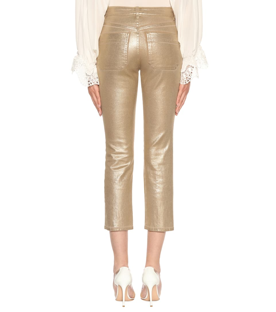 Chloé Exklusiv bei mytheresa.com – Cropped Jeans mit Metallic-Finish