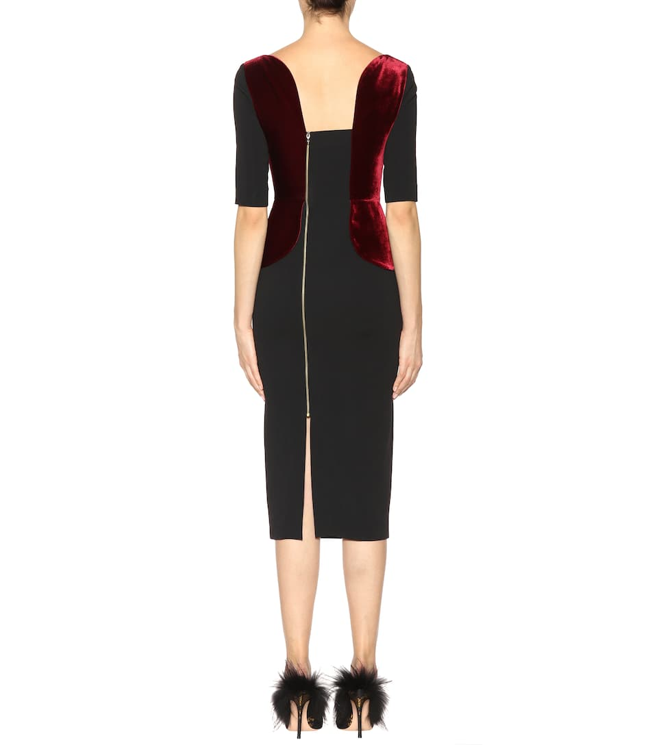 Exclusive to mytheresa.com - Comberton velvet and crêpe dress Roland Mouret Cheap Sale Low Shipping Fee Bb3nCZz