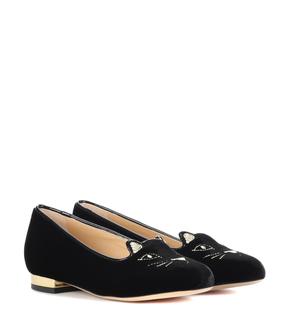 Charlotte Olympia Incy Kitty Flat velvet loafers Shop Cheap Price Buy Cheap Countdown Package Cheap Sale Recommend BnwohIA6r