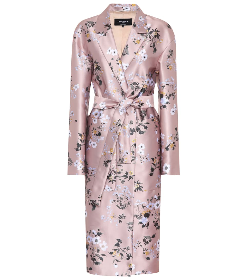 Coat Rochas Printed Satin Light Beige 8pOTSp