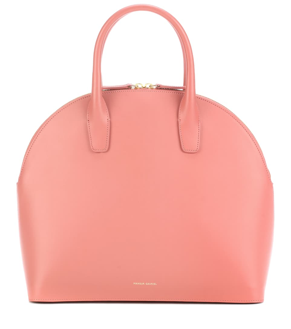 Rounded Leather Top-Handle Bag in Pink