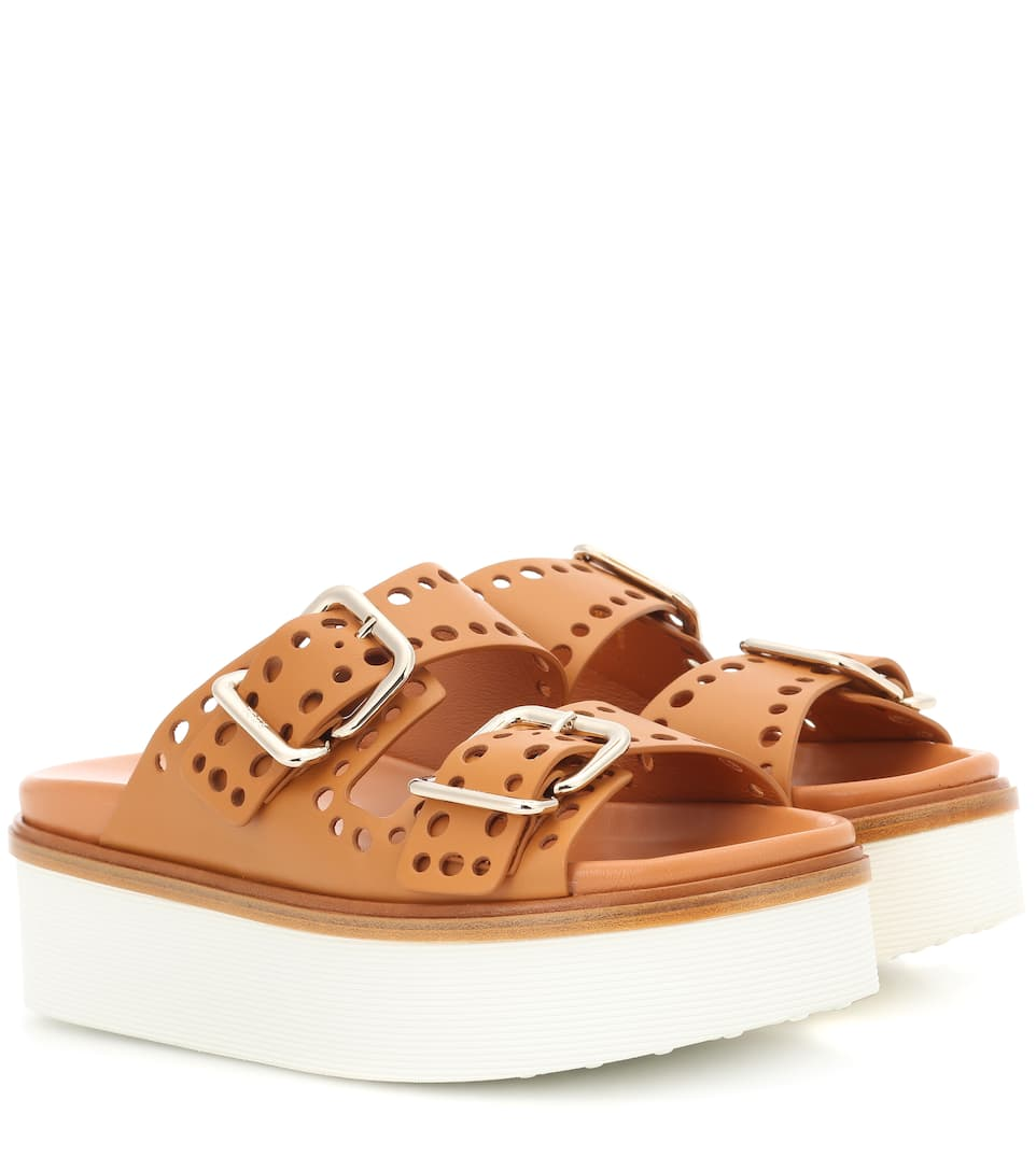 good selling cheap online buy online authentic Tod's Perforated leather platform slides limited edition cheap price 9FqZ1nL