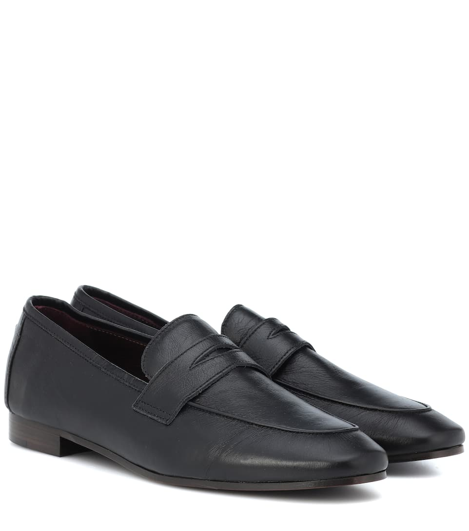 BOUGEOTTE Classic Leather Loafers in Black