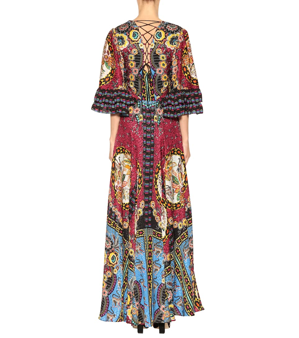 Etro Printed Maxi Dress In Silk