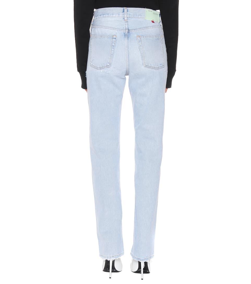 Off-White Mid-Rise Mom Jeans mit geradem Bein