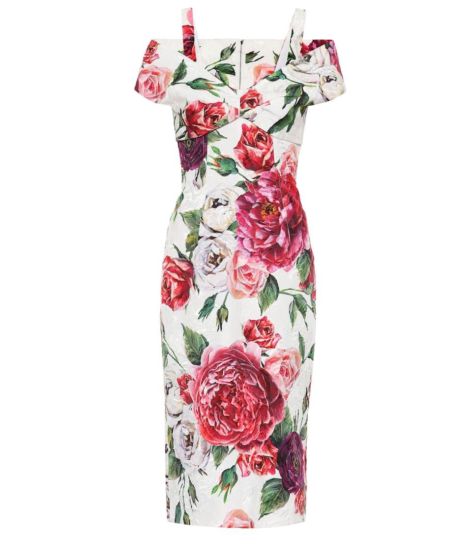 Robe Imprimée En Coton Et Soie Mélangés - Dolce & Gabbana