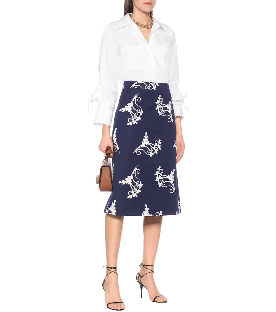 Printed high rise cotton midi skirt
