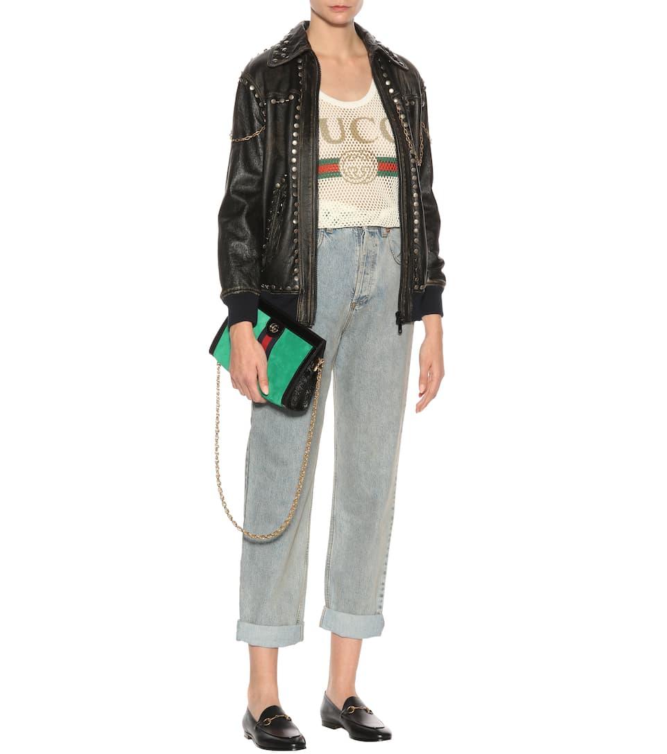 Gucci Lederjacke mit Nieten  Beschränkte Auflage Limitierte Auflage Mit Kreditkarte Original 5VNs9jA