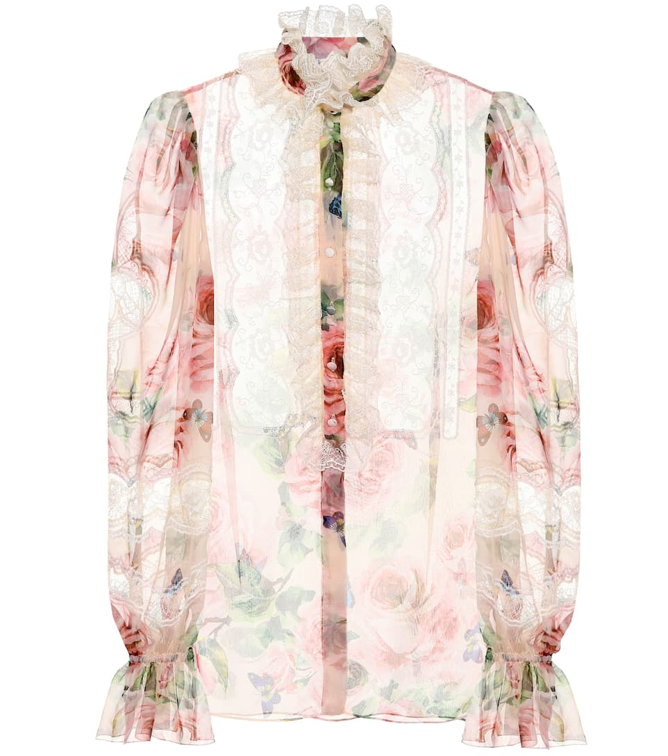 Floral Printed Silk Blend Blouse by Dolce & Gabbana