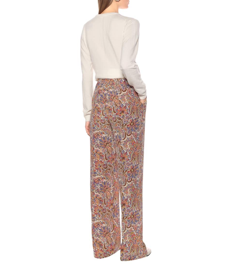 High-Rise Wide-Leg Silk Pants - Etro