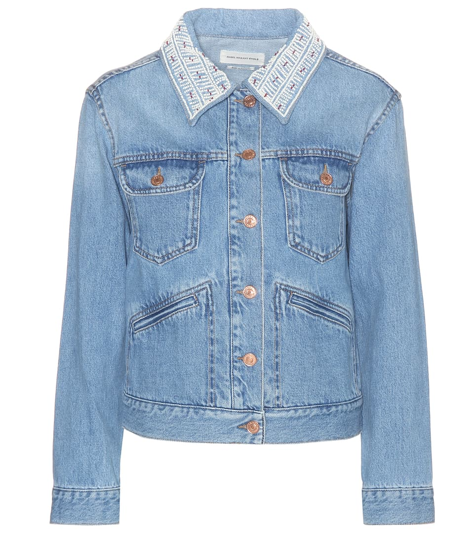 Christa embellished-collar denim jacket