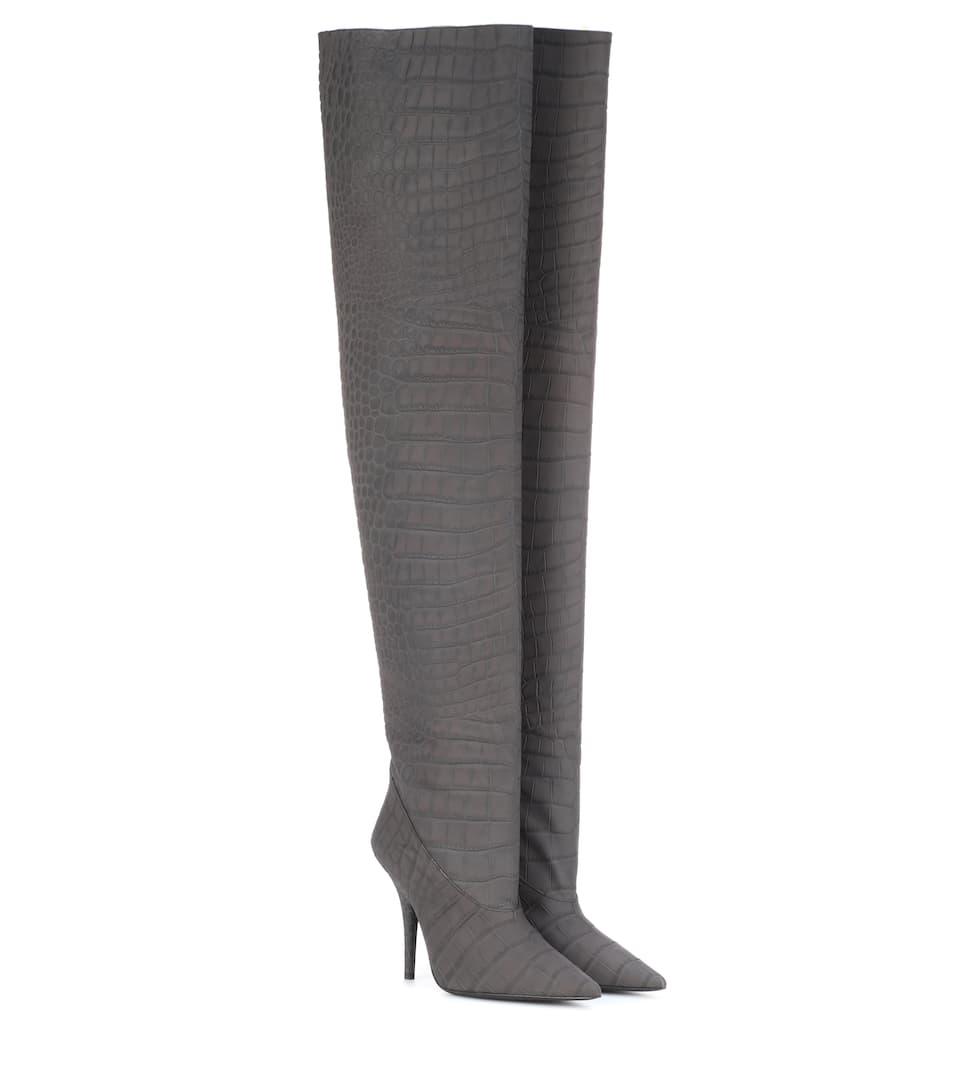 Leather Over-The-Knee Boots (Season 5) in Grey