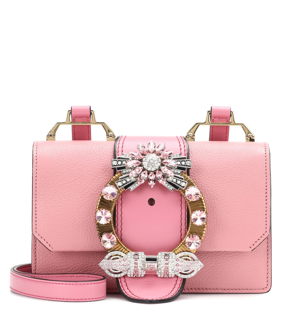 f81bbceec3fb Embellished Leather Shoulder Bag - Miu Miu