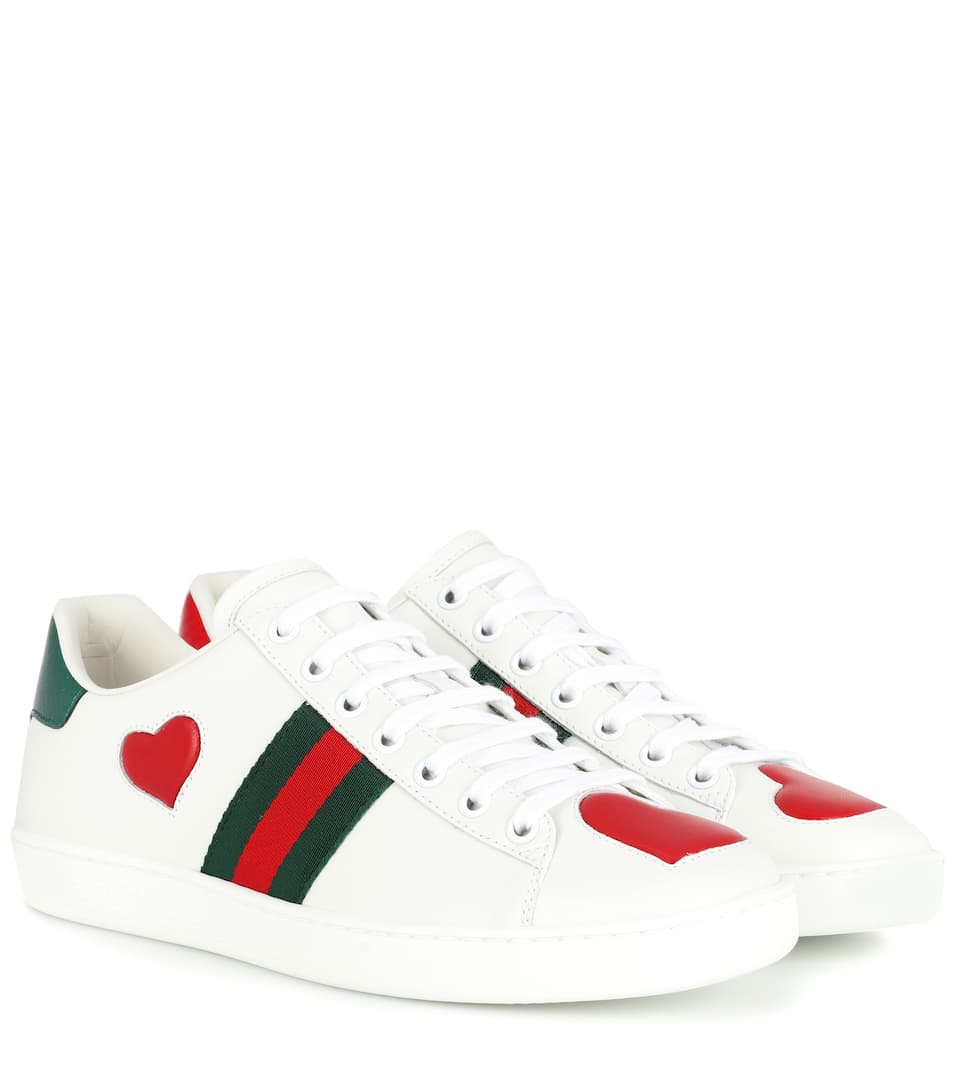 7f18d4cfc33 Ace Snakeskin-Trimmed Leather Sneakers