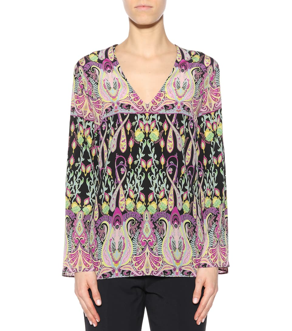 Etro de top seda estampado multicolor frfZqBnFwx