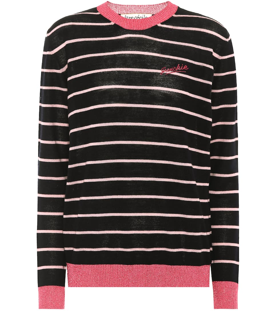 Frenchie Striped Wool-Blend Sweater, Blue