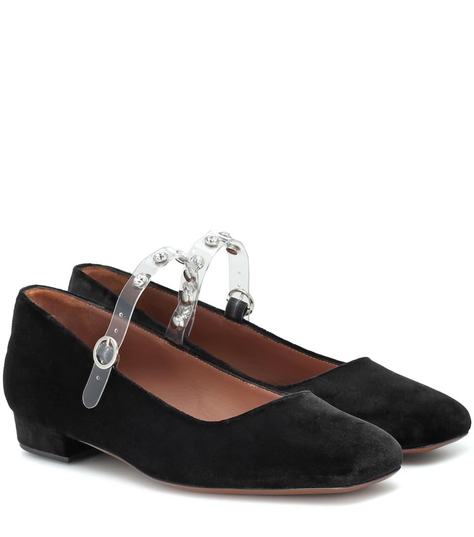 Embellished Pvc-Trimmed Velvet Mary Jane Ballet Flats in Black