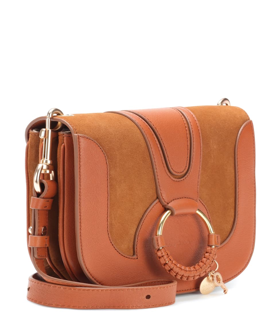 Sac cross-body en cuir et daim Hana Medium