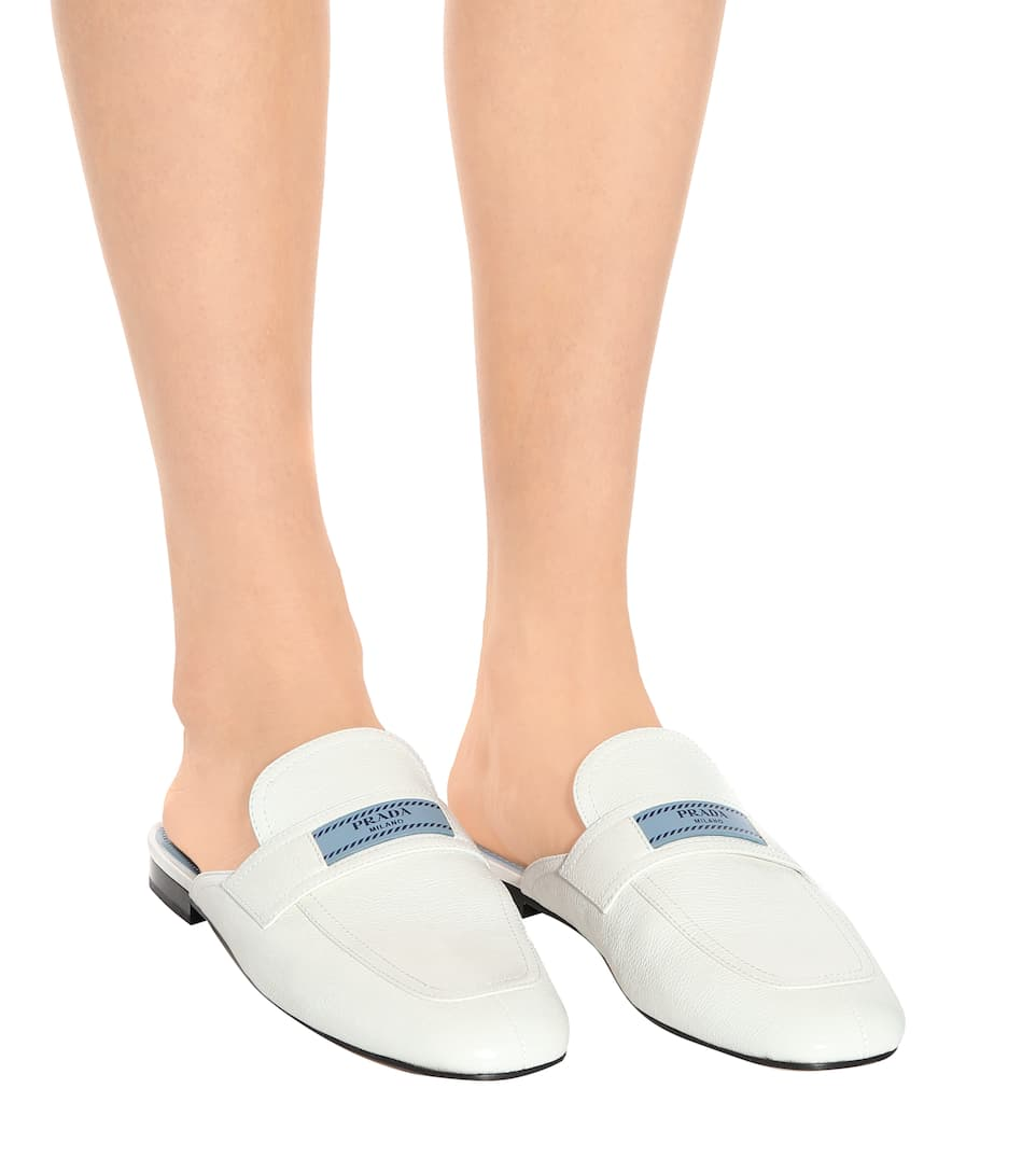 Prada Leather slippers Bianco Free Shipping Finishline Hp5RvJ