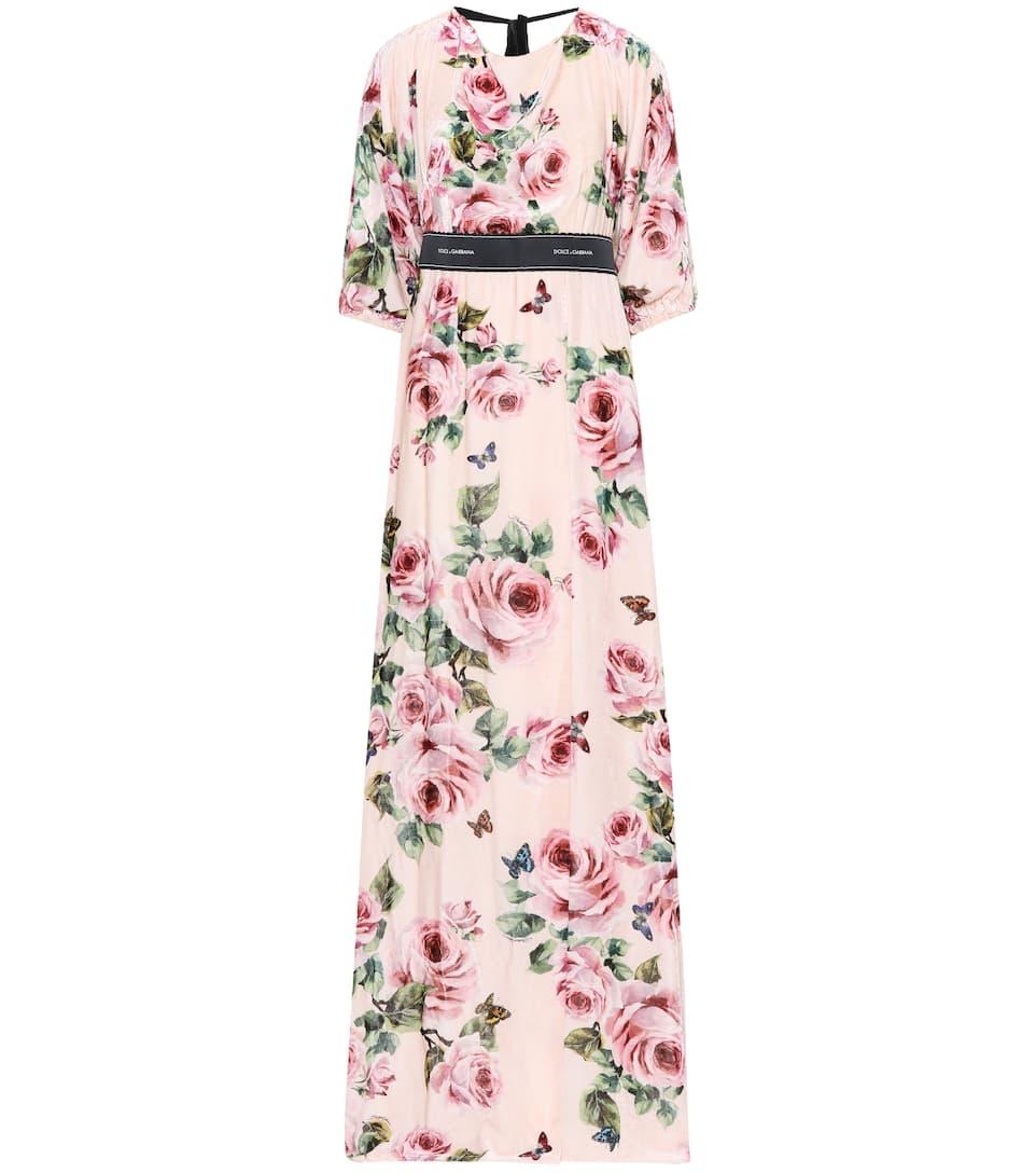 Dolce & Gabbana Printed Maxi Dress With Satin Share