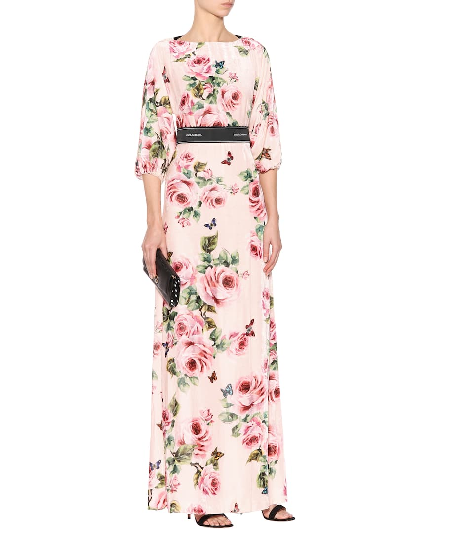 Dolce & Gabbana Bedrucktes Maxikleid mit Seidenanteil