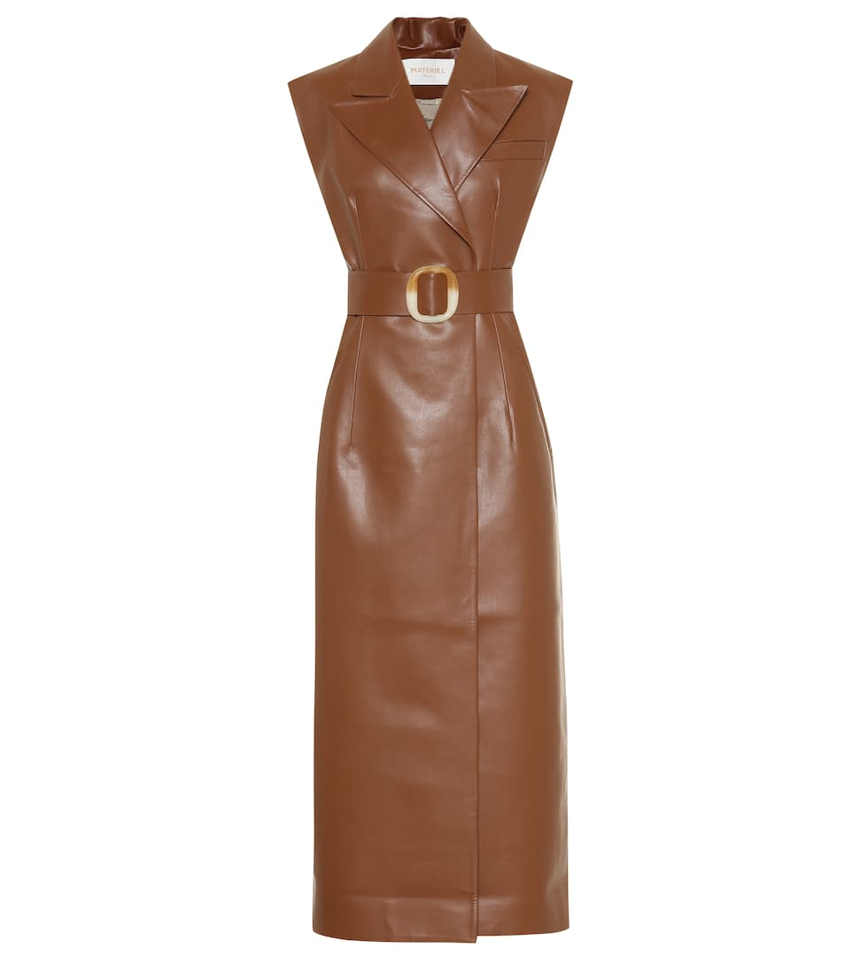 Belted Faux Leather Midi Dress by Matériel Tbilisi