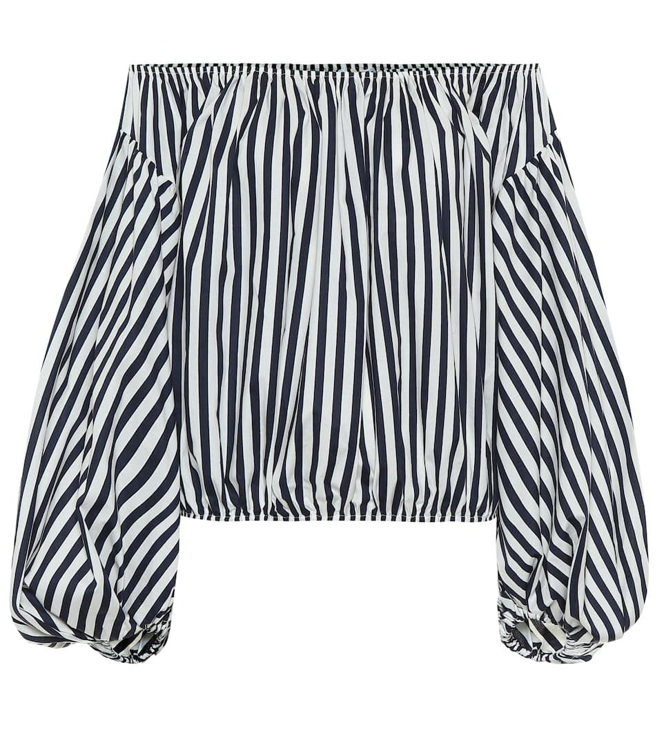 Andros Striped Stretch Poplin Top by Caroline Constas