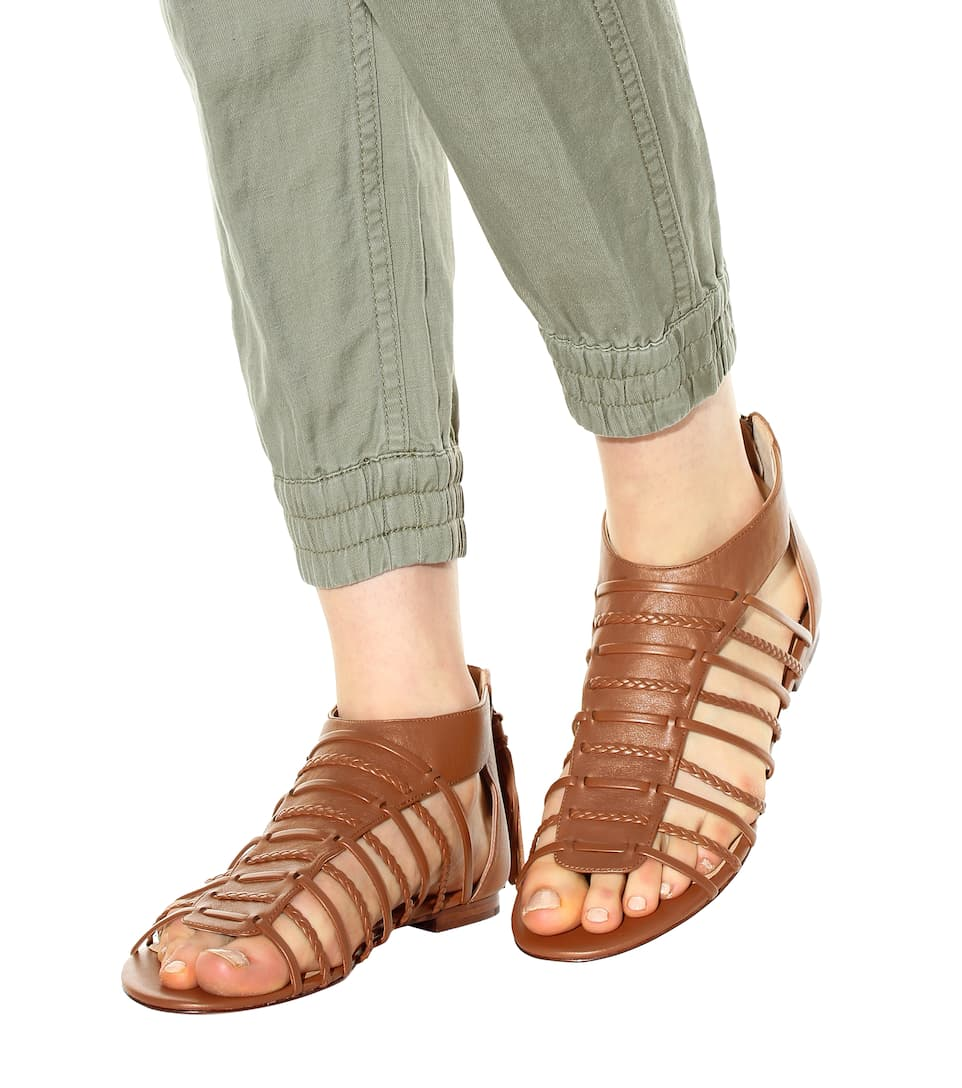 POLO RALPH LAUREN JADINE LEATHER GLADIATOR SANDALS, BROWN
