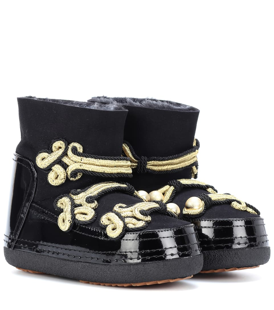 INUIKII Embellished Leather Ankle Boots in Black